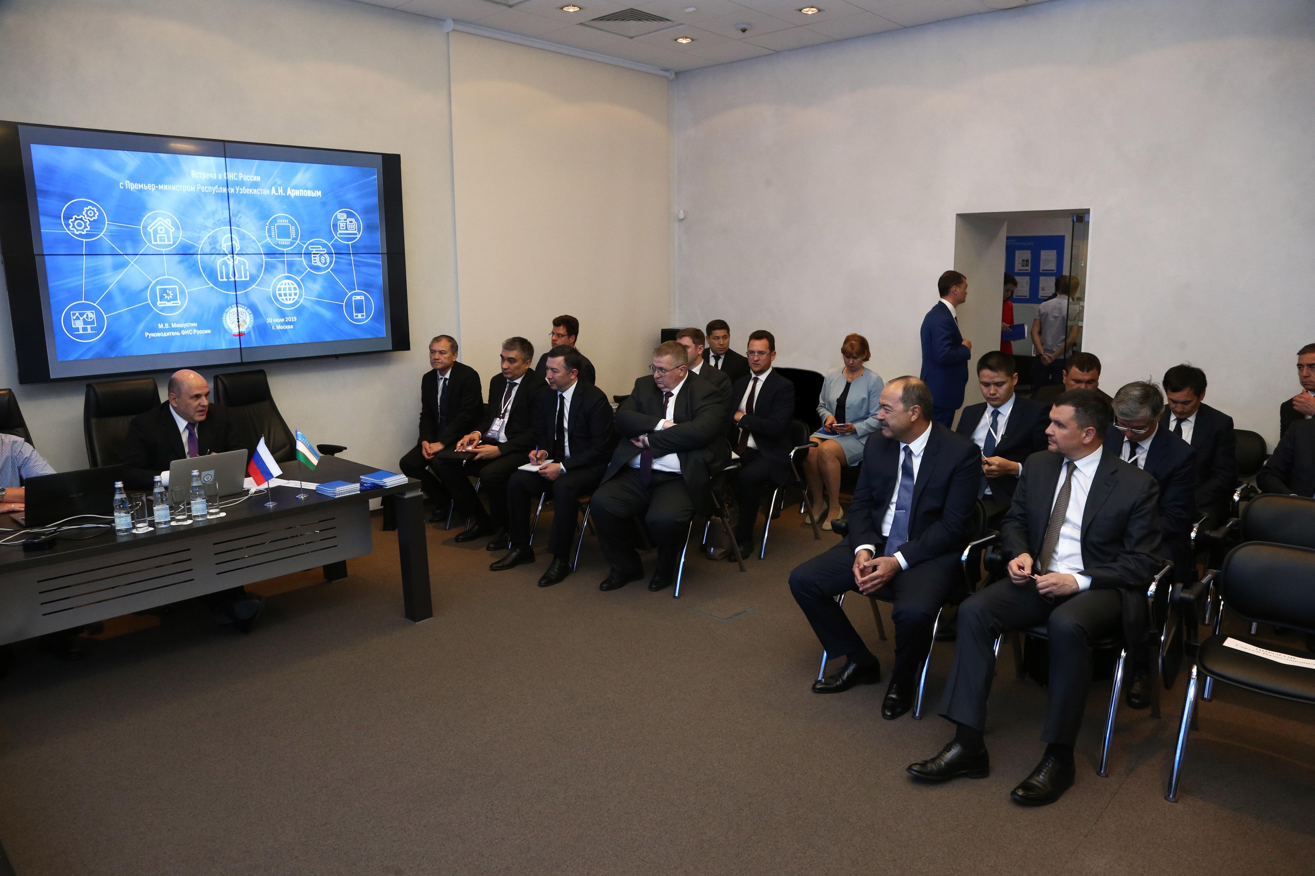 Премьер-министр Республики Узбекистан Абдулла Арипов и заместитель председателя Правительства Российской Федерации Максим Акимов посетили ФНС России